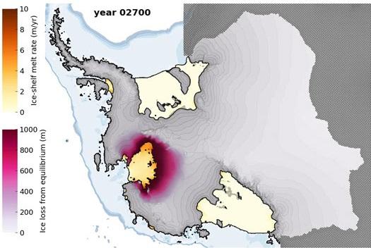 Nivel de deshielo de la capa de hielo de la Antártida occidental para el año 2700. / Feldmann et al