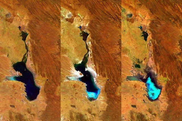 Progresiva evaporación del lago