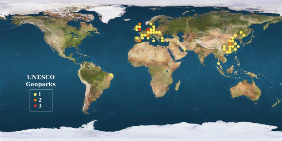 mapa de geoparques UNESCO
