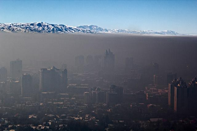 Smog over Almaty city, Kazakhstan