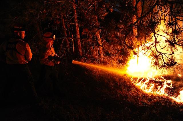 Brigadistas haciendo frente a un incendio