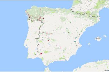 Mapa de incendios forestales España