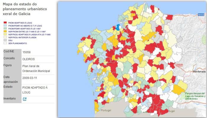 Concellos adaptados a la LOUG Fuente: Xunta de Galicia